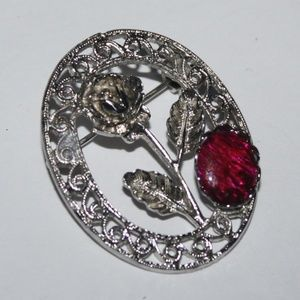 Beautiful silver and red flower brooch